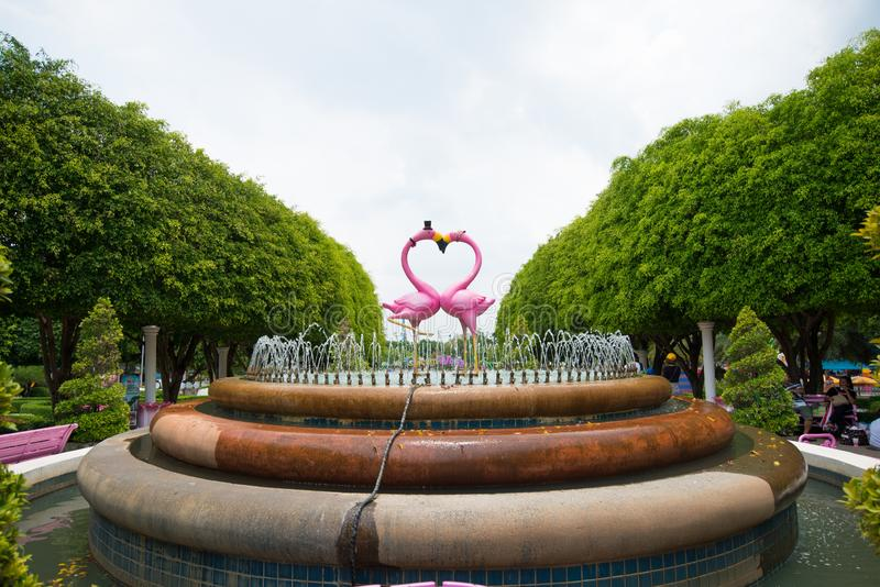 Flamingo statue in Dream World is one of Thailand`s famous theme parks in Pathumtanee ,. PATHUMTHANI, THAILAND - April 27, 2019 :Flamingo statue in Dream World royalty free stock photo