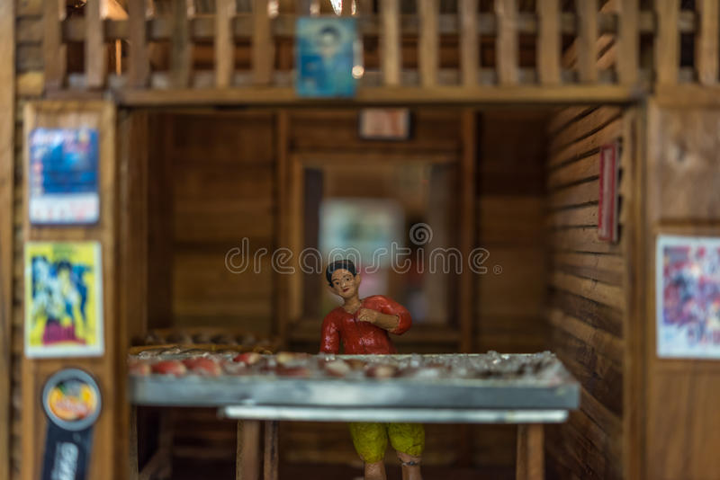 Asian clay doll with ancient lifestyle model stock photo