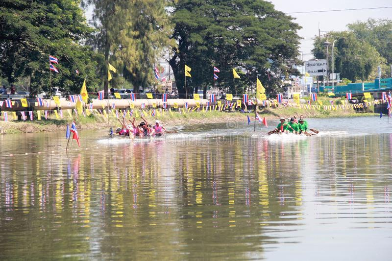 PATHUMTHANI, THAILAND-NOVEMBER 4,2018:Subdistrict Municipality T. Hanyaburi competition has boat stainless steel.The canal area in front of Aiyikaram Temple to stock photo
