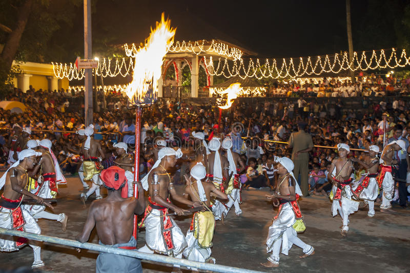 Pathuru Dancers perform in front of a huge crowd at the Esala Perahera in Kandy, Sri Lanka. The dancers carry a bat like piece of wood which they bang on the royalty free stock images