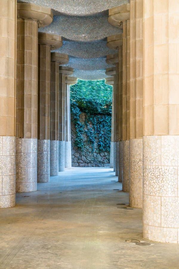 Pathway through columns stock photos
