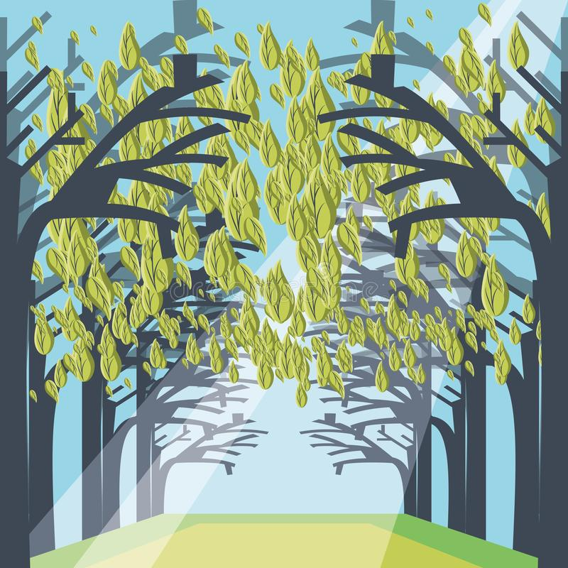 Pathway through a dense forest landscape stock illustration