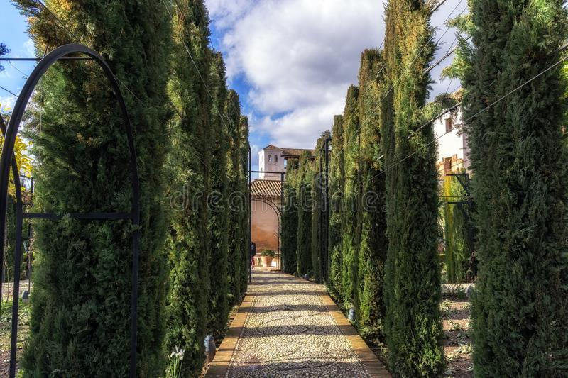 Pathway among hedge in Generalife. Pathways among the hedges and gardens of Generalife. Alhambra Palace, Granada, Spain stock images