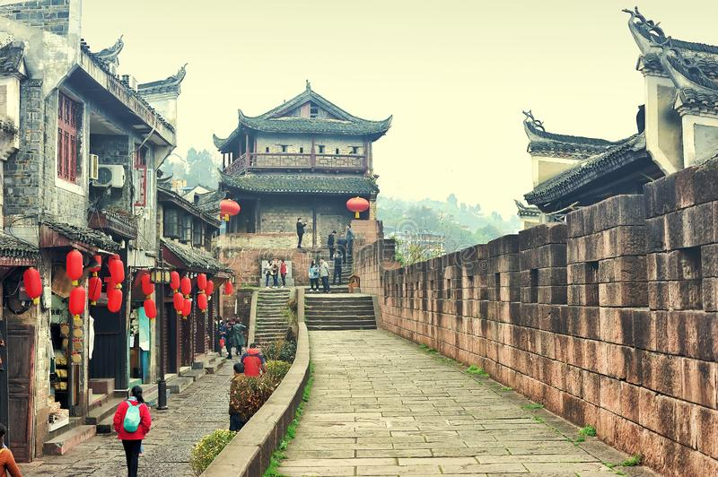 The pathway of North Gate Wall Gucheng Qiangcheng toward to North Gate Tower in Fenghuang old city Phoenix Ancient Town, Hunan stock photography