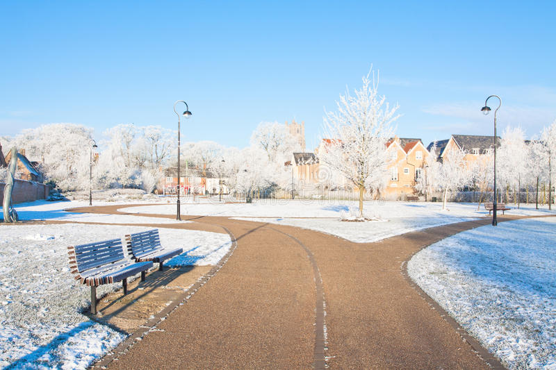 Pathway through the park in winter. Winter pathway through the park royalty free stock photo