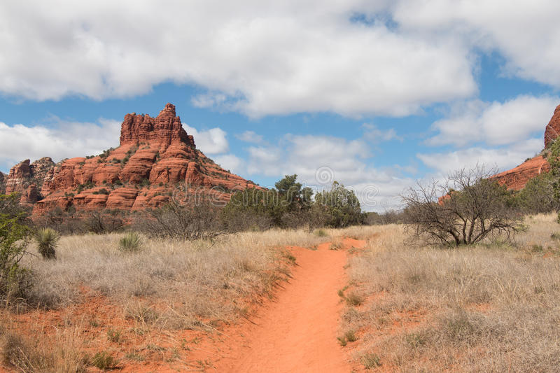 Pathway in Red Rock State park. Sandstone formations of Red Rock State park, Arizona, USA stock photography