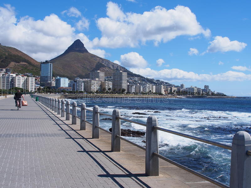 Pathway beside the sea in Cape Town, South Africa. stock images