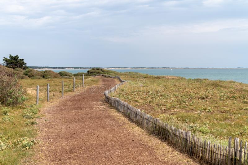 Pathway in seacoast in Vendee France western coast. A pathway in seacoast in Vendee France western coast stock image