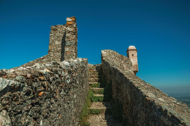 Pathway with stairs on top of wall going to watchtower at the Marvao Castle royalty free stock photography
