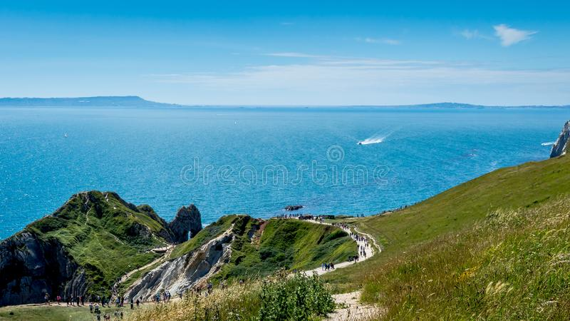 The pathway to the Famous Durdle Door, Jurassic Coast. UK stock images