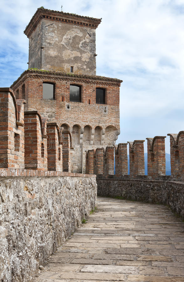 Pathway to a medieval tower. In Vigoleno Castle, Piacenza, Italy royalty free stock image