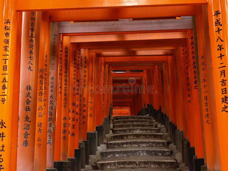 Download Pathway Under The Torii Gate Of Fushi Inari Shrine Stock Photo - Image: 24667988