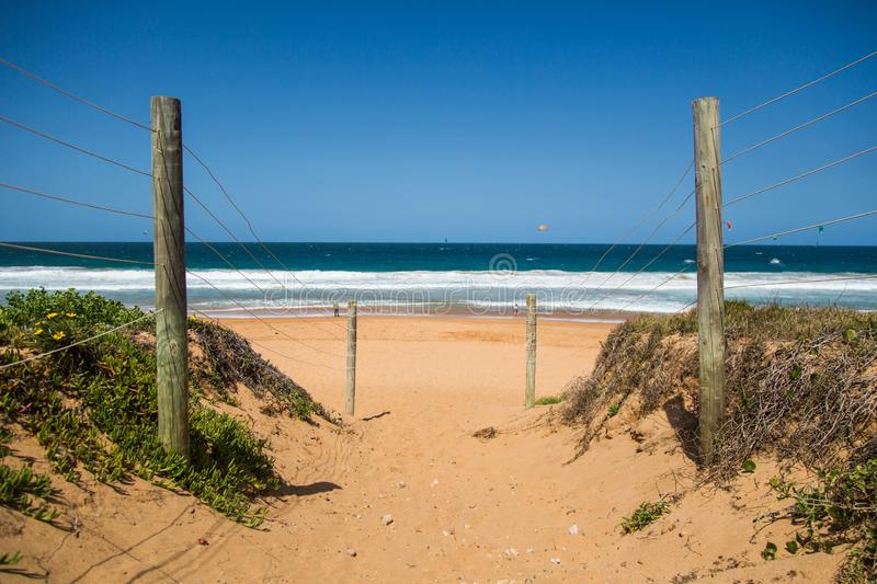 Pathway with a wire fence attached to wooden sticks near green plants on the beach stock image