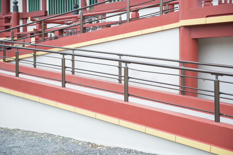 Pathways for wheelchair user to building. Architecture stock photos