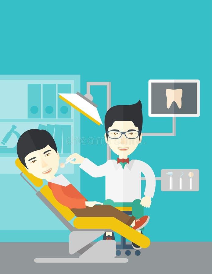 Patiënt en tandarts stock illustratie