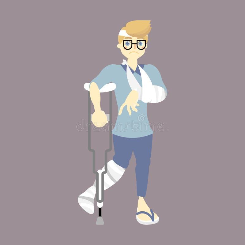 Patiënt met gegoten op de gebroken been en wapensteunpilaar van de beenholding, het lopen hulp, ongevallenconcept royalty-vrije illustratie