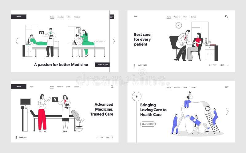 Patiënten in de ziekenhuiskamer, zwangere vrouw in de klinische kliniek bij de benoeming van artsen, stomatologie, hygiëne en beh royalty-vrije illustratie