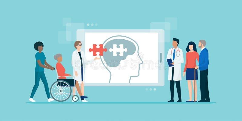 Patiens d'aiuto professionali del gruppo di medici con il morbo di Alzheimer illustrazione vettoriale