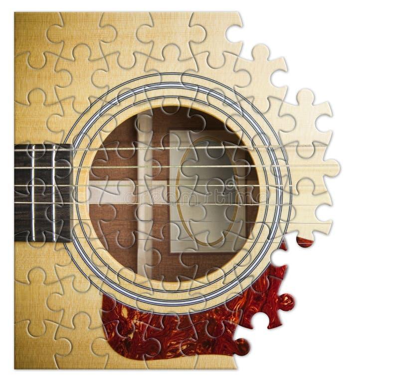 Patiens och passion som ska l?ras att spela den steg-f?r-steg gitarren - begreppsbild i pusselform arkivbild