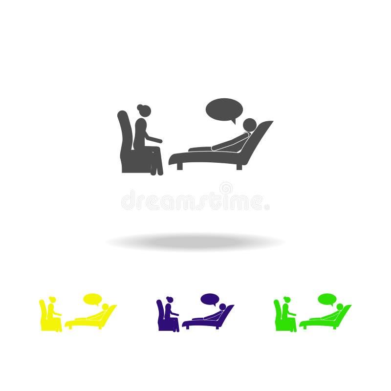 Patient à la réception d'une icône de psychologue Éléments des patients dans l'icône d'hôpital Conception graphique de qualité de illustration libre de droits