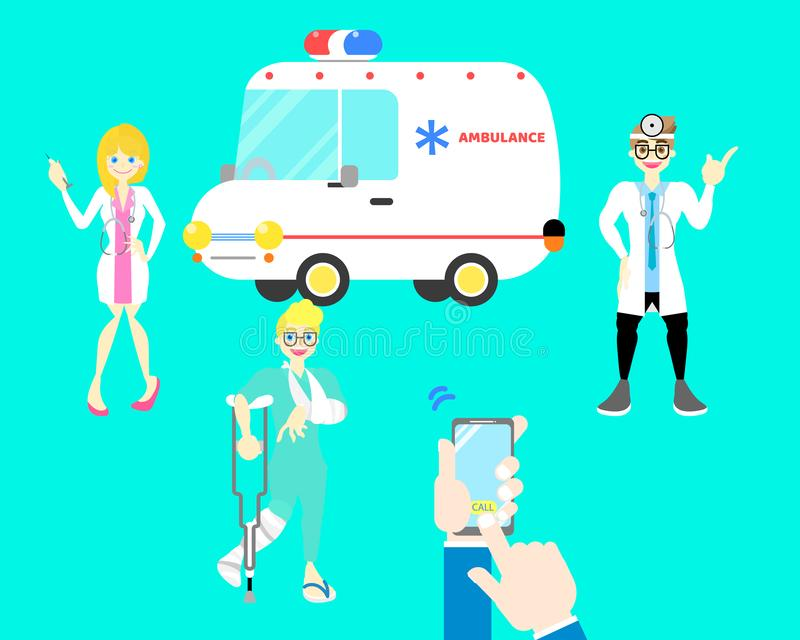 Patient broken leg and arm bone, hands holding mobile phone calling ambulance car with male and female doctor,stethoscope. In cyan background flat vector stock illustration