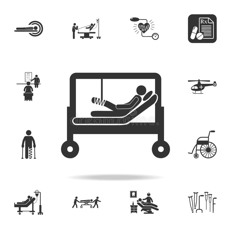Patient broken leg in hospital illustration icon. Detailed set of medicine element Illustration. Premium quality graphic design. O. Ne of the collection icons royalty free illustration