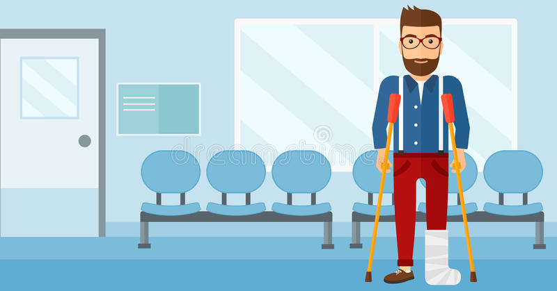 Patient with broken leg. An injured hipster man with broken leg standing with crutches on the background of hospital corridor vector flat design illustration stock illustration