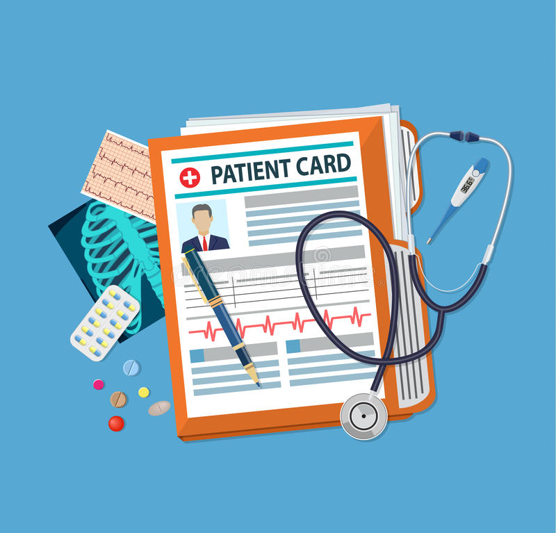 Patient card concept. Folder woth documents, stethoscope, pills, pen, thermometer, x-ray. patient card. medical report. analysis or prescription concept. vector vector illustration