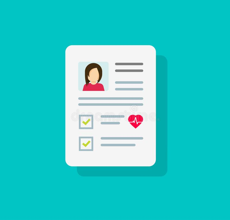 Patient card icon or medical form list with results data and approved check mark vector symbol, flat cartoon clinical. Checklist document report with checkbox royalty free illustration