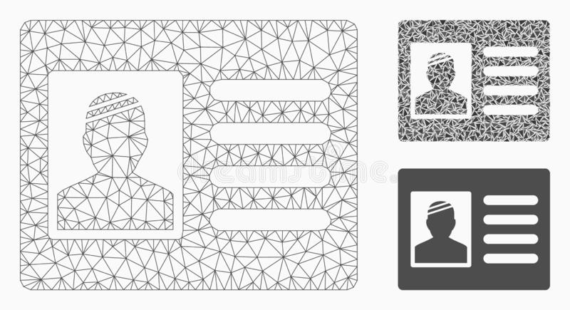 Patient Card Vector Mesh Wire Frame Model and Triangle Mosaic Icon stock illustration