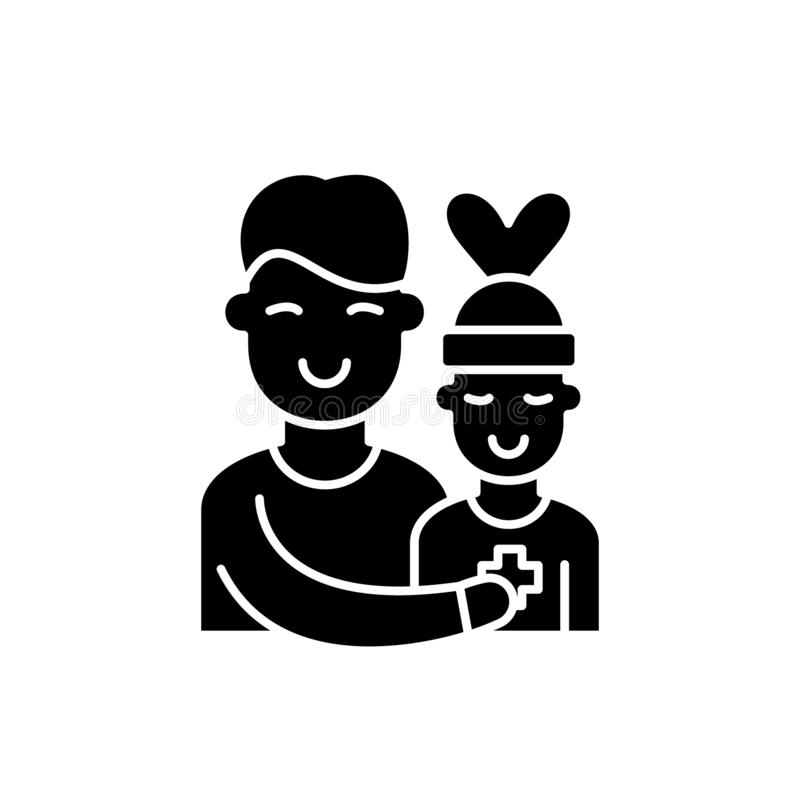 Patient care black icon, vector sign on isolated background. Patient care concept symbol, illustration royalty free illustration