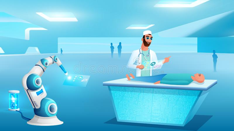 Patient Computer Diagnostic on Operating Table royalty free illustration