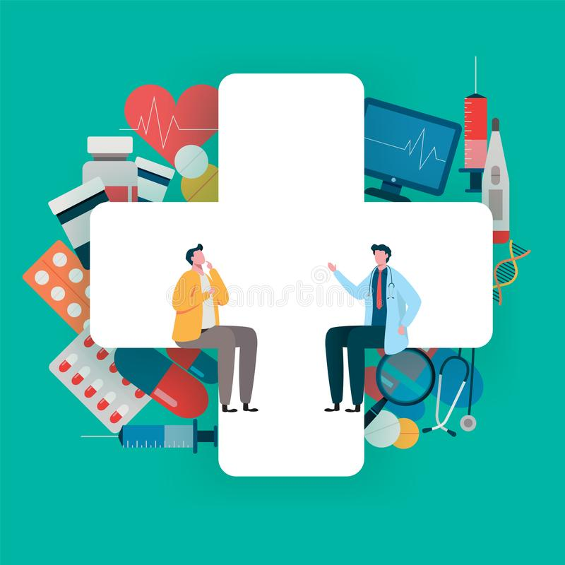 Patient consultation to the doctor. Health care concept, Medical team. Healthy Application. Flat vector illustration. Modern character design vector illustration