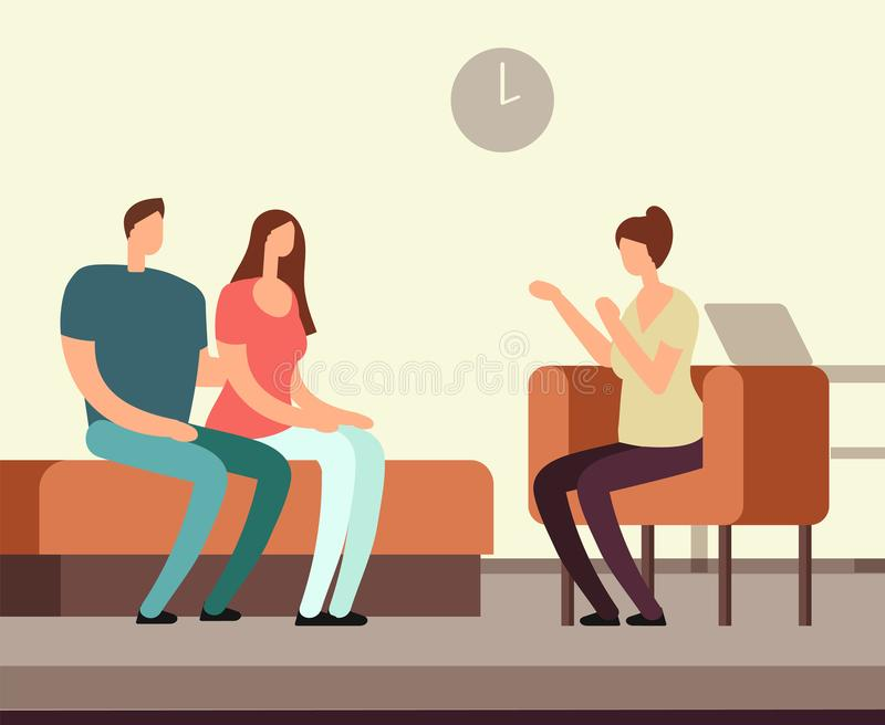 Patient on couch counseling with psychologist. Addiction mental therapy vector concept vector illustration