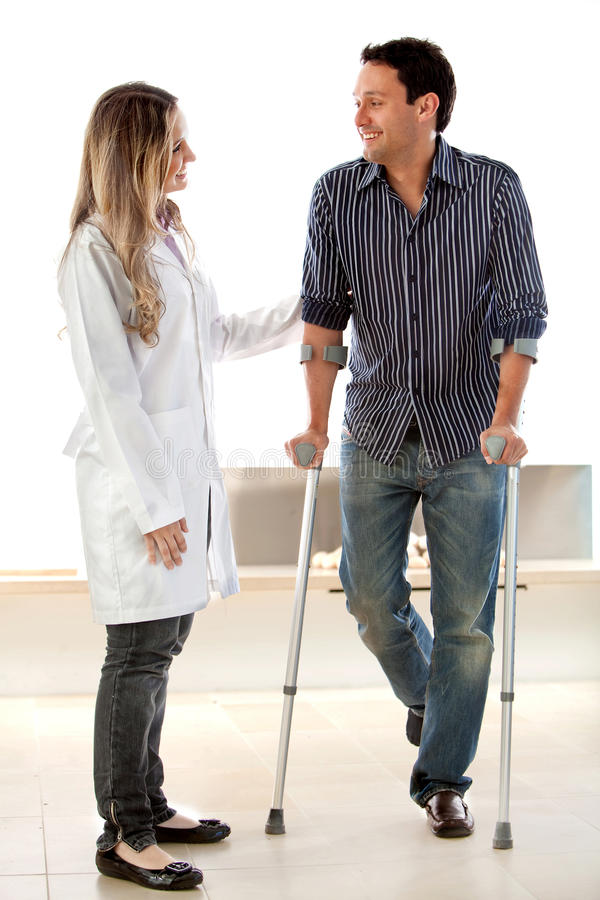 Patient in crutches