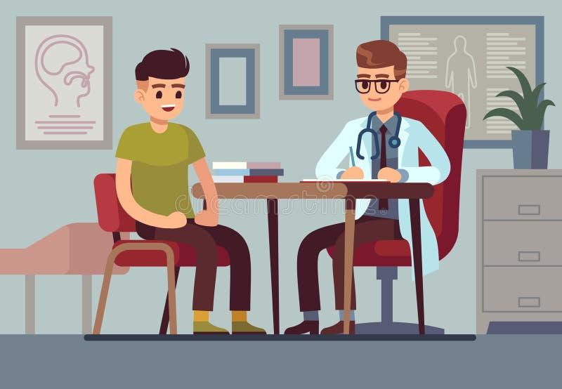 Patient dans le bureau de docteur Patients médicaux de santé de traitement de diagnostic de consultation d'aide de médecin d'hôpi illustration libre de droits