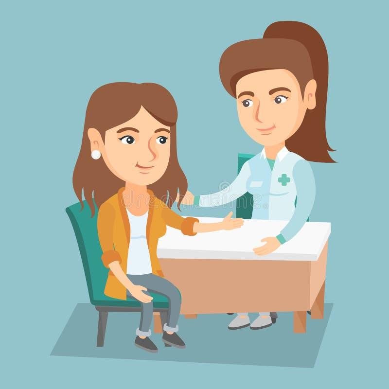 Patient de consultation de docteur caucasien de thérapeute illustration libre de droits