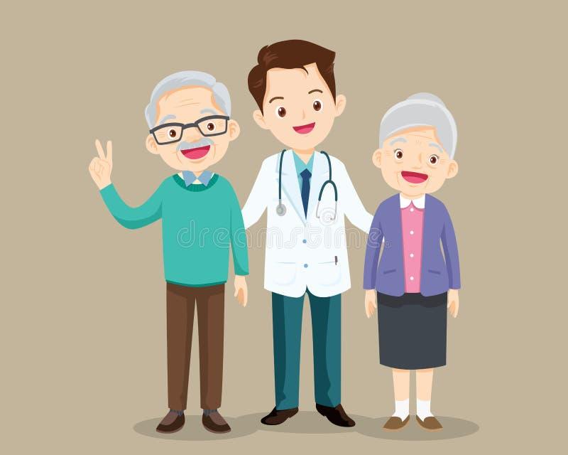 Patient de docteur et d'homme plus âgé Personnes supérieures sur la consultation avec le docteur illustration stock