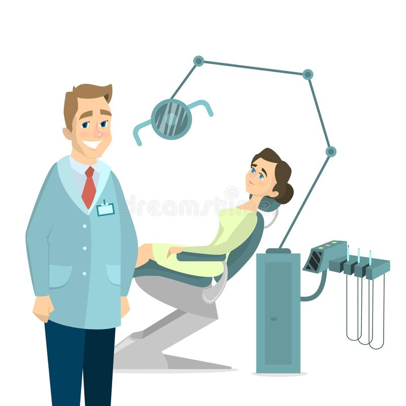 Patient and dentist. Isolated female patient in chair and male dentist on white background stock illustration