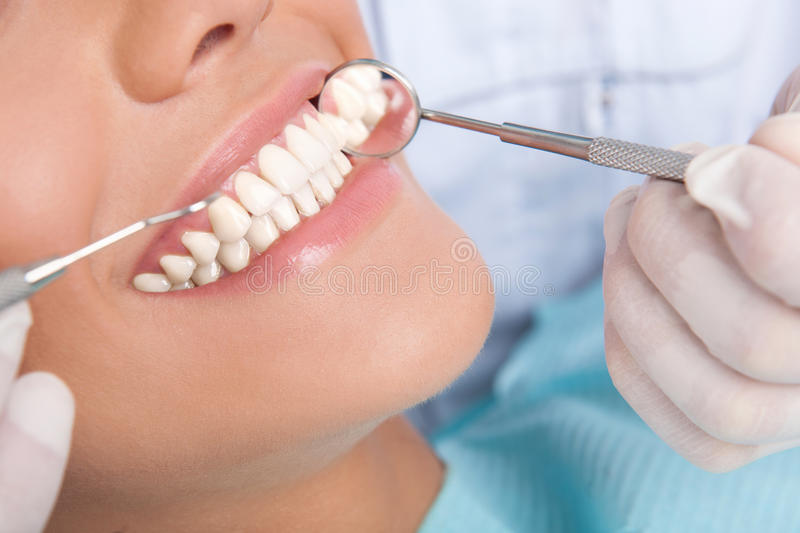 Patient at dentist office royalty free stock photos