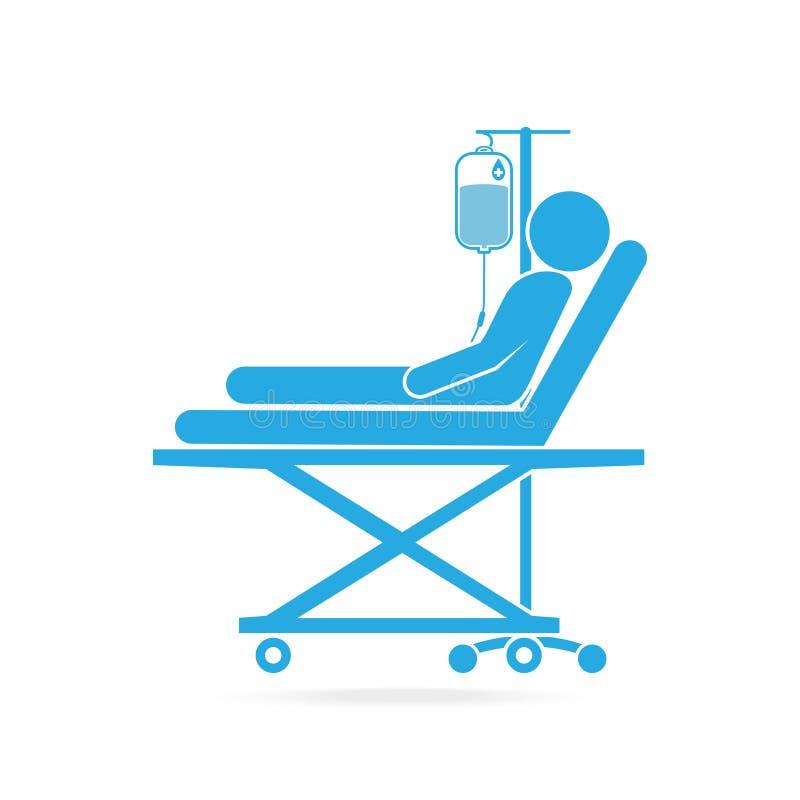 Patient, der im Bett mit einer Tropfenzählerikone liegt lizenzfreie abbildung