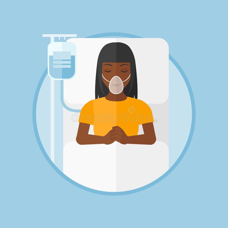 Patient, der im Krankenhausbett mit Sauerstoffmaske liegt vektor abbildung