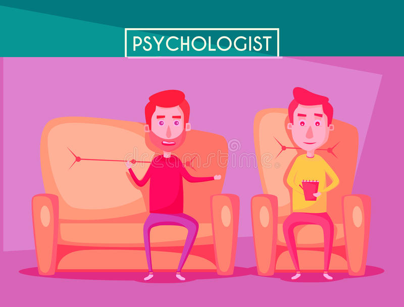 Patient, der mit Psychologe Cartoon-Vektorillustration spricht lizenzfreie abbildung