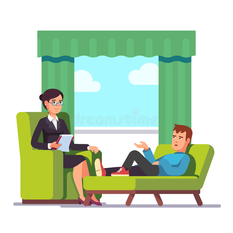 Patient, der mit Psychologen spricht stock abbildung