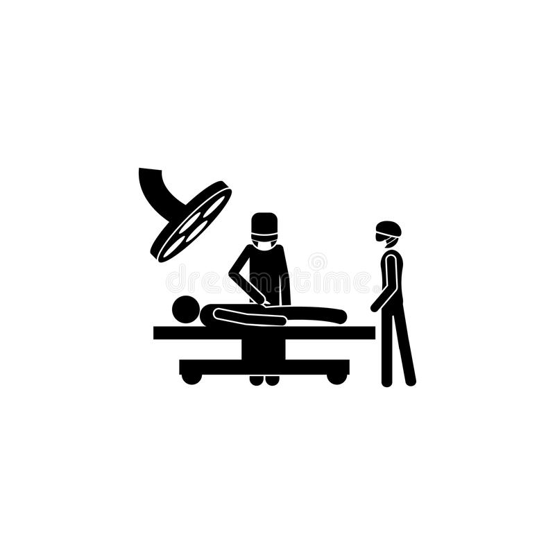 Patient in der Operationsraumikone Elemente von Patienten in der Krankenhausikone Erstklassiges Qualitätsgrafikdesign Zeichen, En stock abbildung
