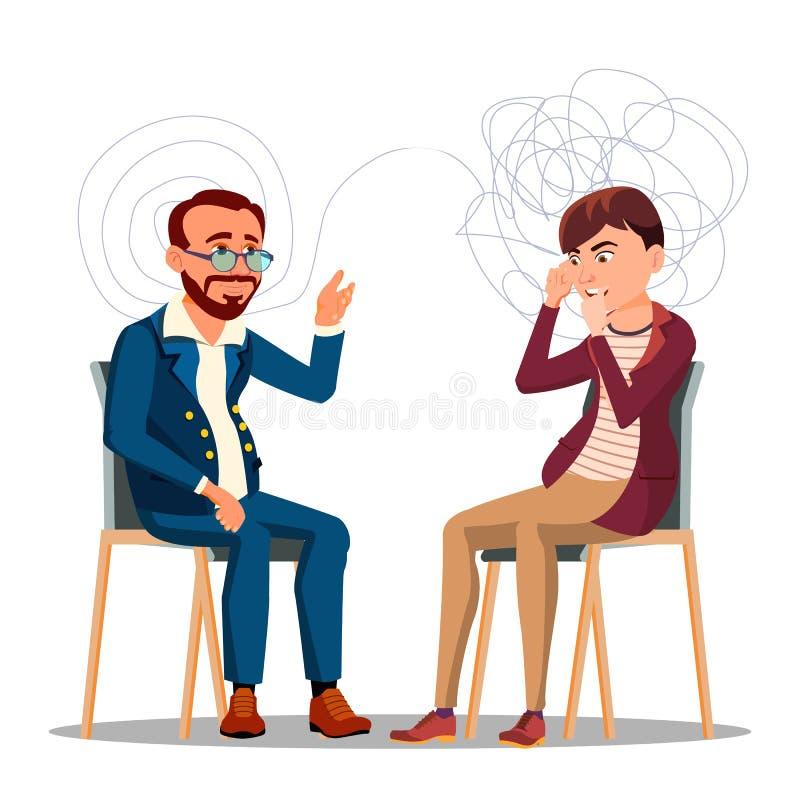 Patient an der Psychiatrie beraten, Psychotherapie-Zeichentrickfilm-Figur stock abbildung