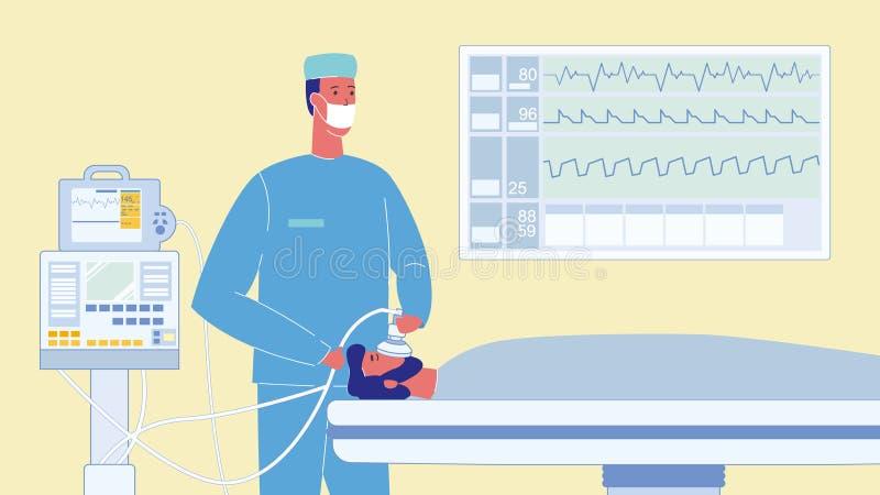 Patient in der Reanimations-Karikatur-Vektor-Illustration vektor abbildung