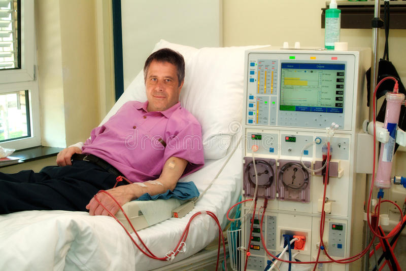 Patient on dialysis machine royalty free stock photo