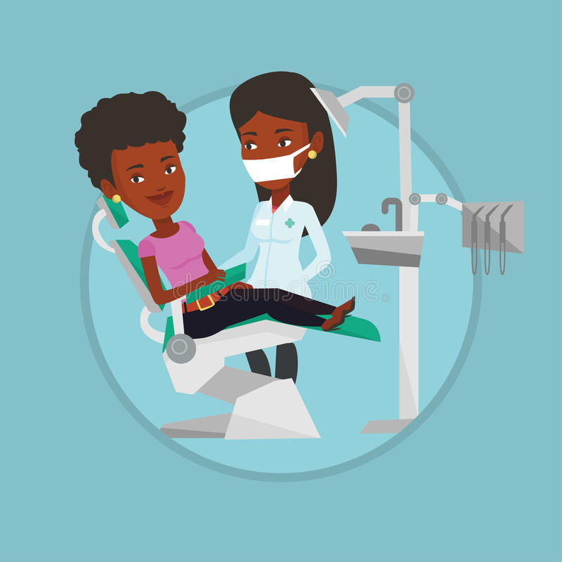 Patient and doctor at dentist office. stock illustration