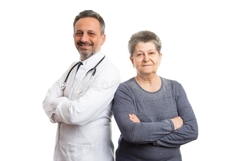 Patient and doctor holding arms crossed royalty free stock photography